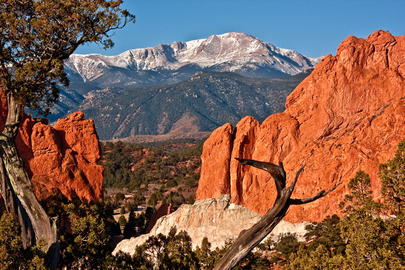 Pikes Peak overlooking the Garden of the Gods