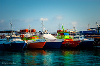Boats moored together in harbor of San Miguel de Cozumel, Quintana Roo