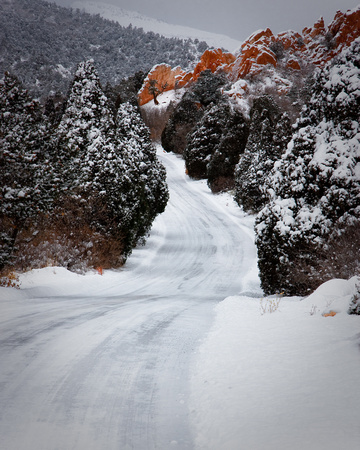 Icy backroad in the Garden of the Gods