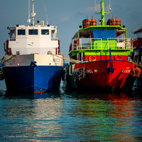 Two boats in harbor at San Miguel de Cozumel, Quintana Roo